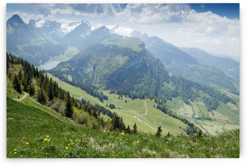 Panorama view of Alpstein mountain with lake of Ebenalp. Appenzell Switzerland by Besa Art