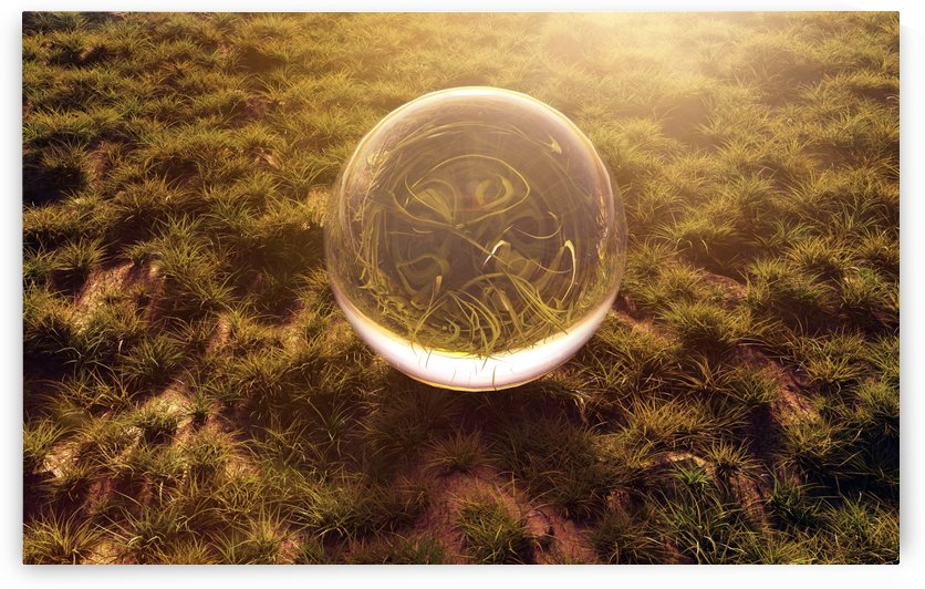 crystal ball on green grass in the morning sunshine light by Besa Art