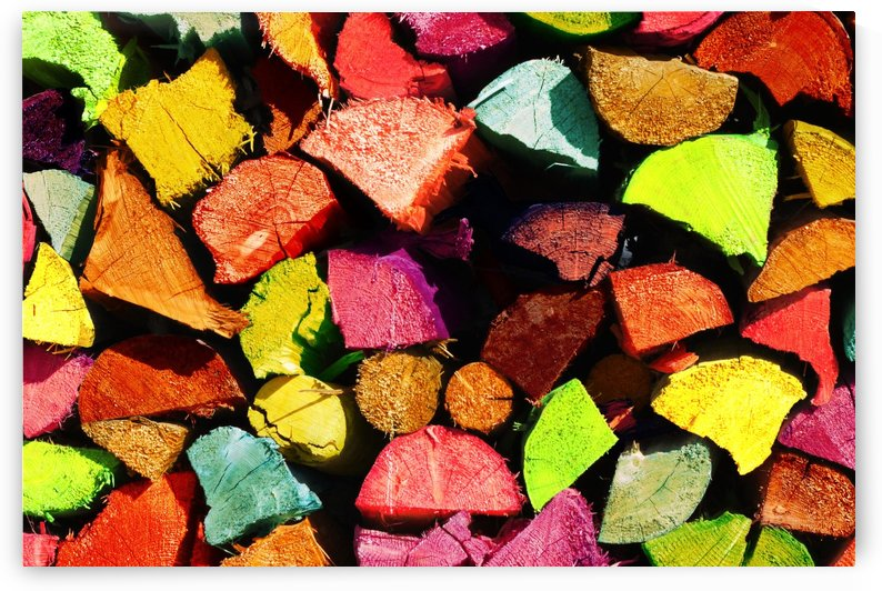 colorful stack of wood by Besa Art