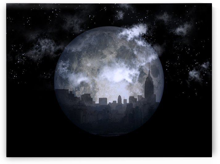 Full moon night city by Bruce Rolff