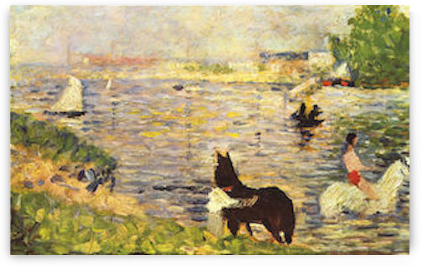 White and black horse in the river by Seurat by Seurat