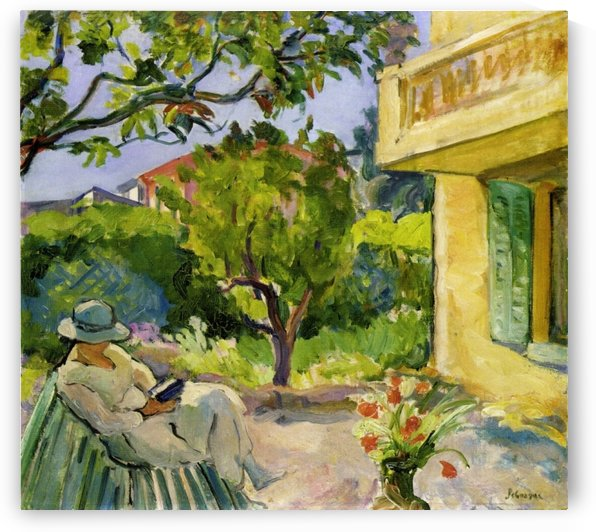 Le Cannet Madame Lebasque Reading in the Garden by Henri Lebasque