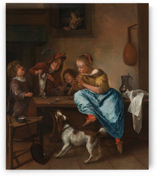 Kinderen leren een poes dansen by Jan Steen