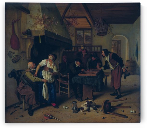 Interior of an inn with an old man amusing himself with the landlady and two men playing backgammon, known as 'The Double Game' by Jan Steen