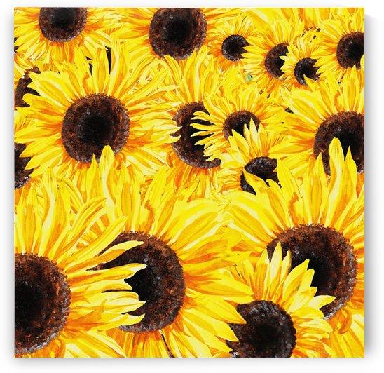 Sunflowers Field Watercolor Painting by Irina Sztukowski by Irina Sztukowski