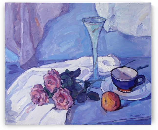 Still Life with Purple Roses by Ivan Kolisnyk
