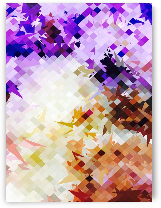 geometric square pixel pattern abstract background in purple brown by TimmyLA