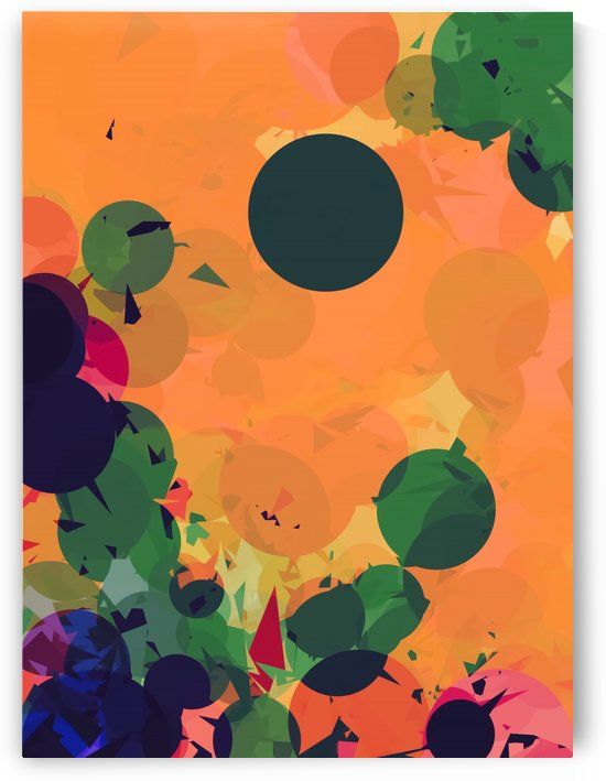 geometric circle and triangle pattern abstract in green orange red by TimmyLA