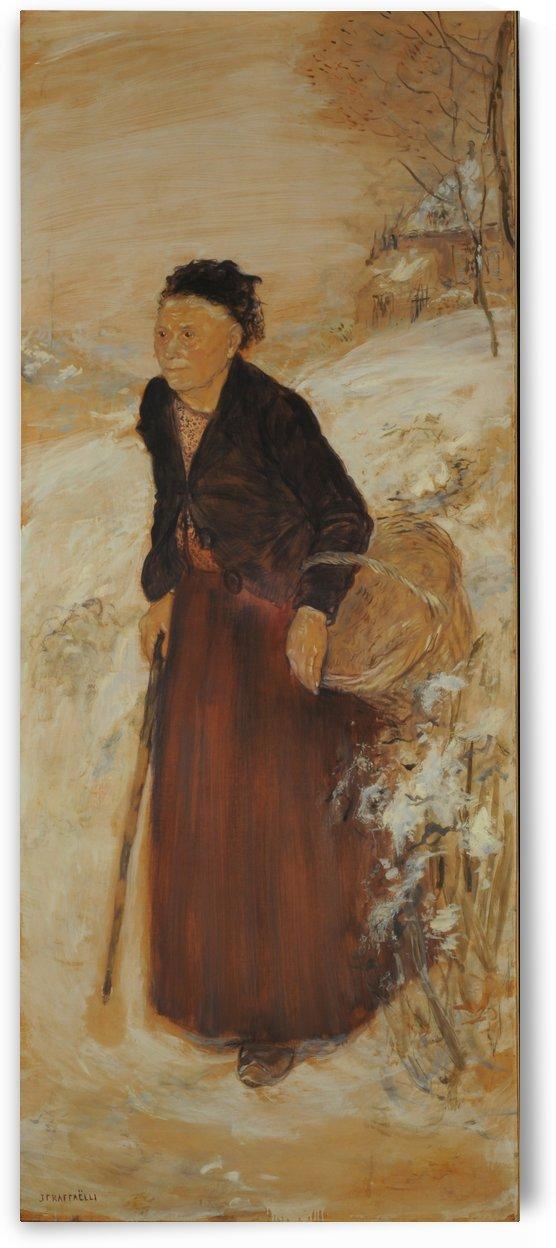 Anciana en la nieve by Jean-Francois Raffaelli