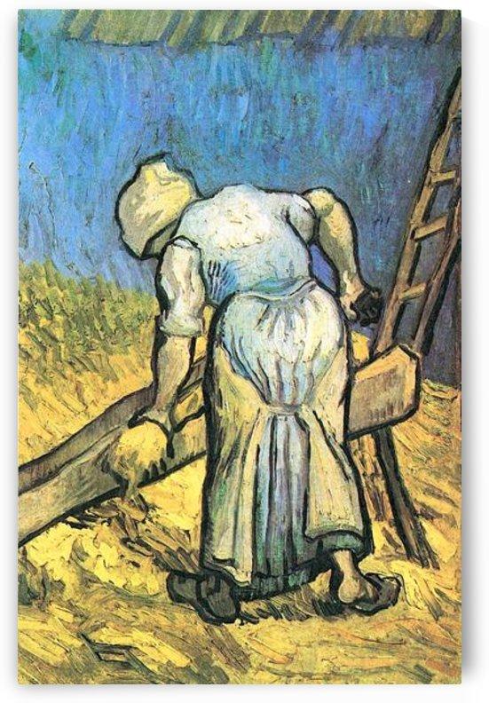 A farmer cutting hay by Van Gogh by Van Gogh