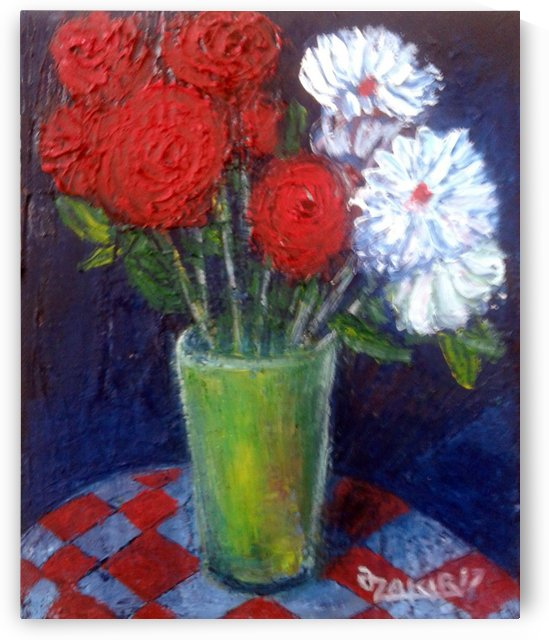 37.Red white 2017year 25x20cmOriginal Painting Oil on Canvas1000$ by ZAKIR AHMEDOV