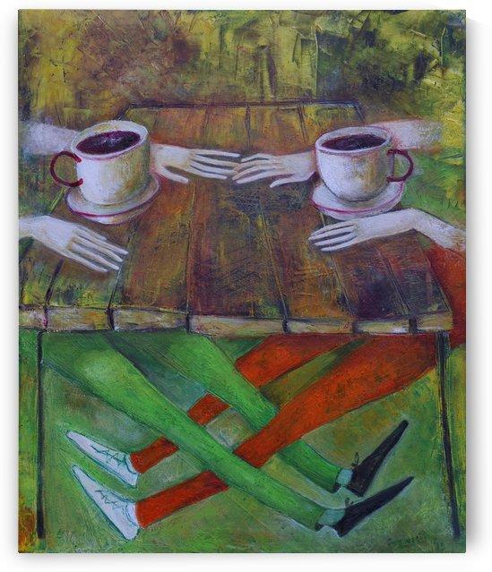 19..Kafe 2013 year Original Painting Oil on Canvas  55x45cm3500$ by ZAKIR AHMEDOV