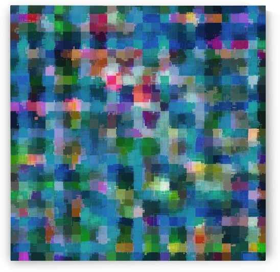 geometric square pixel pattern abstract in blue green pink yellow by TimmyLA