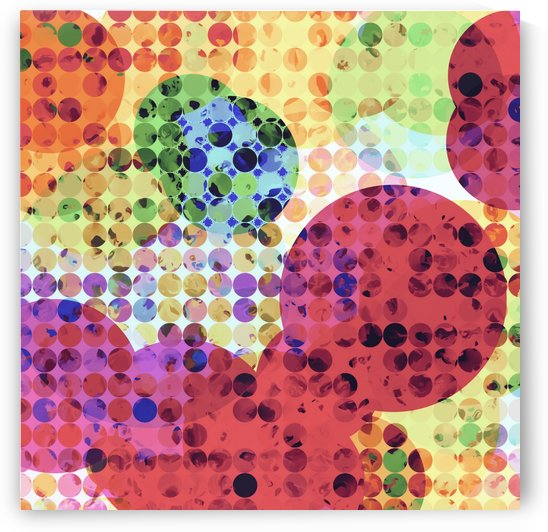 geometric circle pattern abstract background in red pink yellow orange green by TimmyLA