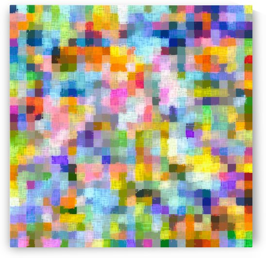 geometric square pixel pattern abstract in blue pink yellow orange by TimmyLA