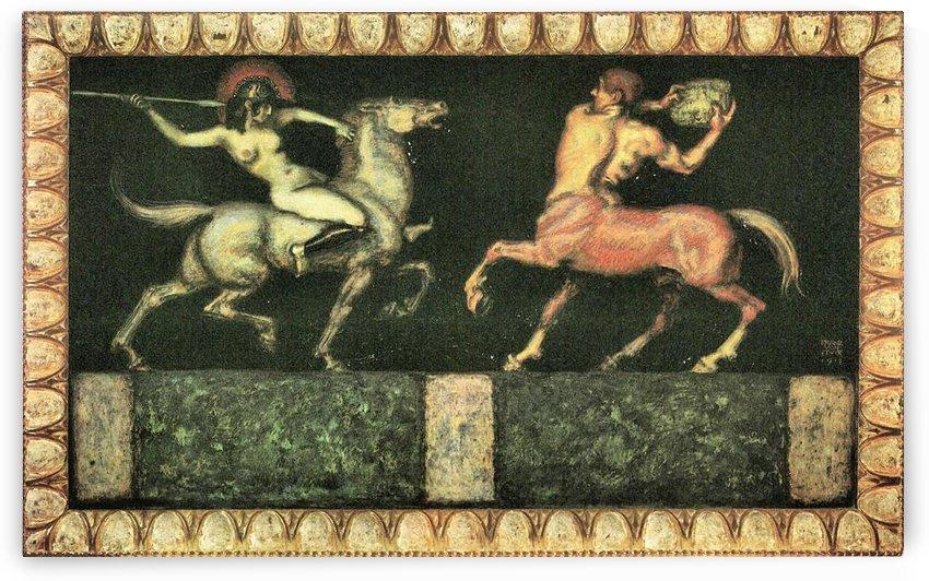 Amazon and the Centaur by Franz von Stuck by Franz von Stuck