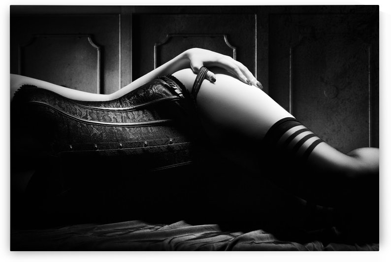 Woman with black corset by Johan Swanepoel