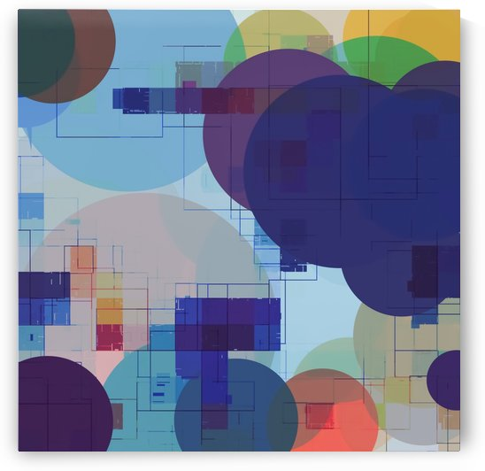 geometric square pixel pattern abstract and circle pattern in blue red green yellow by TimmyLA