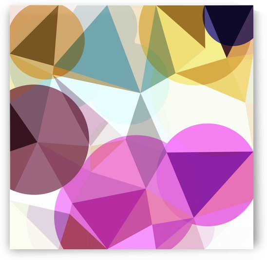 geometric triangle and circle pattern abstract in pink blue yellow by TimmyLA