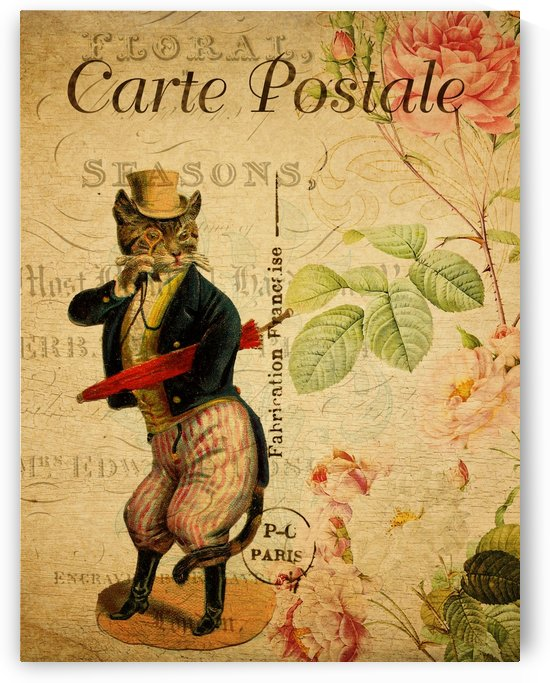 Cat Dressed With Red Umbrella_OSG by One Simple Gallery