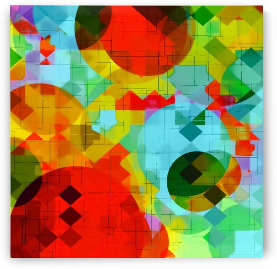geometric square pixel and circle pattern abstract in red blue yellow by TimmyLA