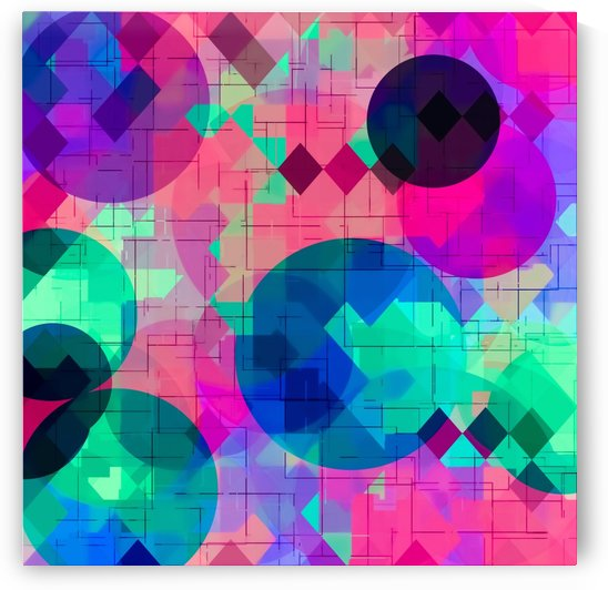 geometric square pixel and circle pattern abstract in pink blue green by TimmyLA