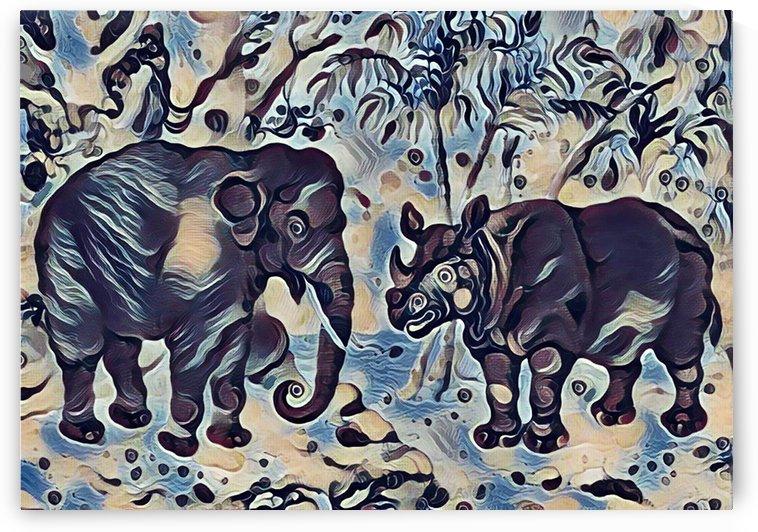 Elephant And Rhinoceros_Ceremonial_OSG  by One Simple Gallery