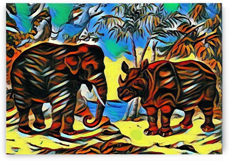 Elephant And Rhinoceros_Im Dreaming_OSG  by One Simple Gallery