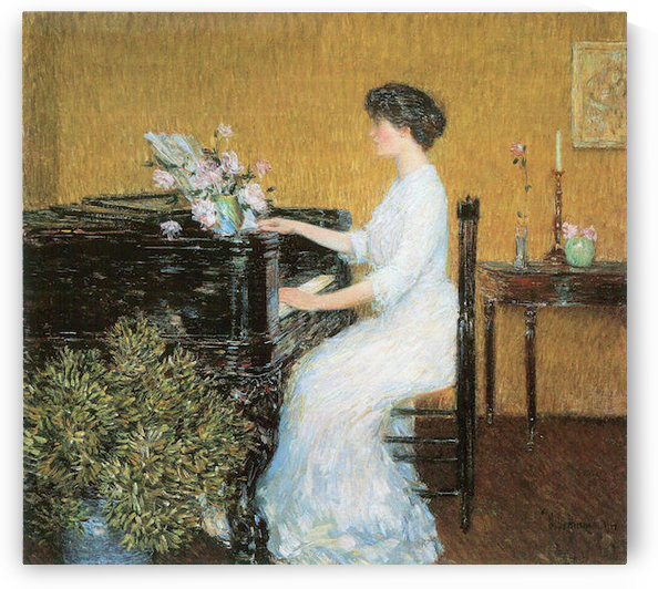 At the piano by Hassam by Hassam