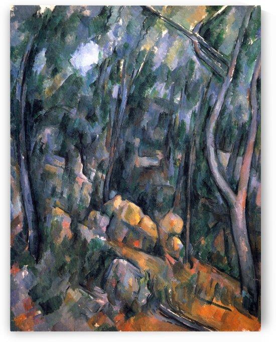 Wald bei den Felsenhohlen oberhalb des Chateau Noir by Paul Cezanne