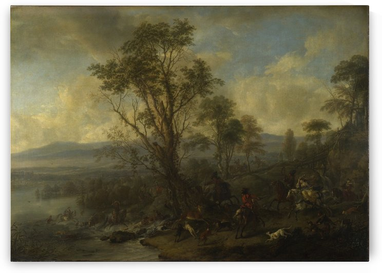 A Stag Hunt by Philips Wouwermans