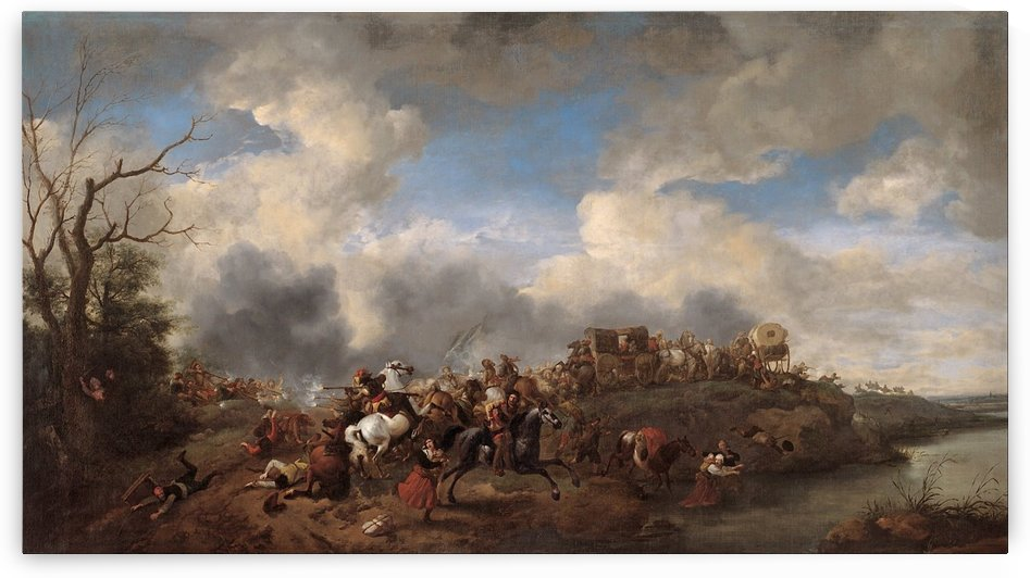 A cavalry battle by Philips Wouwermans