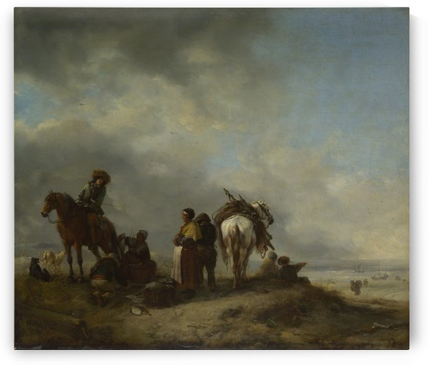 A View on a Seashore with Fishwives offering Fish to a Horseman by Philips Wouwermans