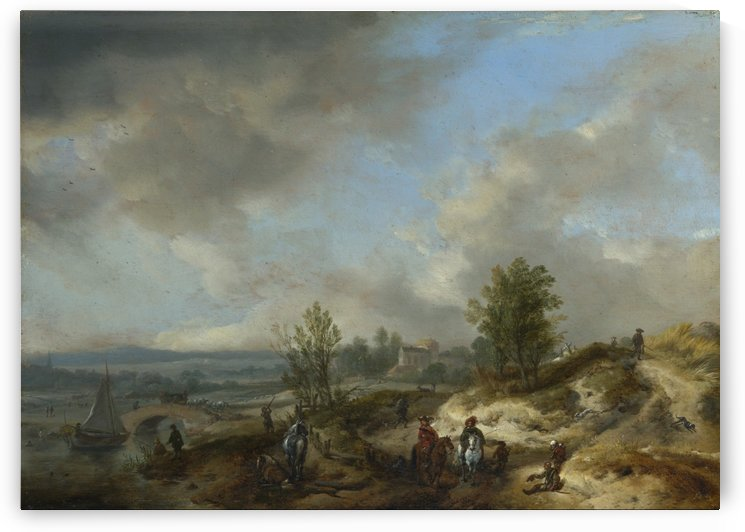 A Dune Landscape with a River and Many Figures by Philips Wouwermans