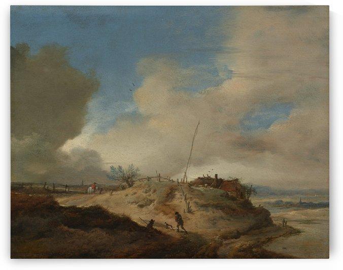 Landschap met seinpaal by Philips Wouwermans