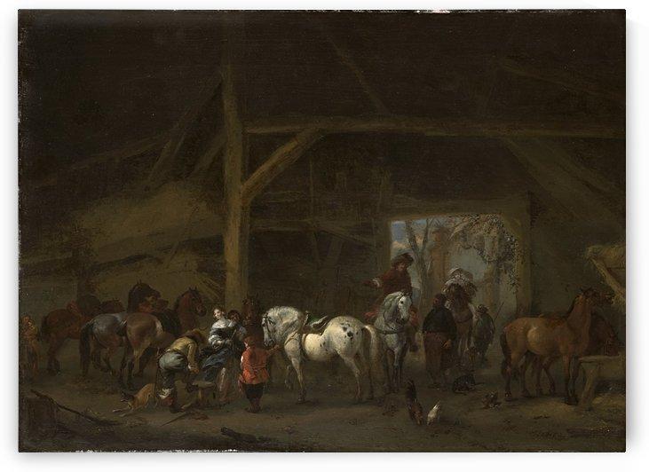 Een paardenstal by Philips Wouwermans