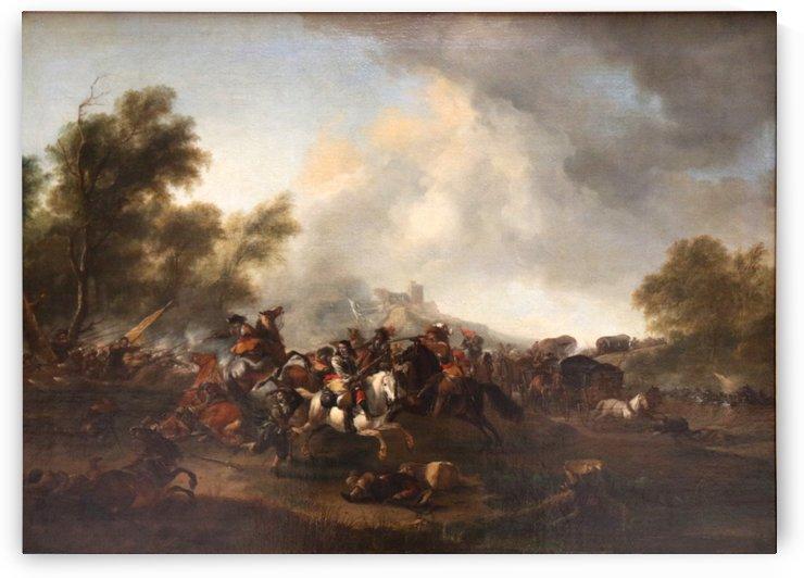 Attaque d un convoi by Philips Wouwermans
