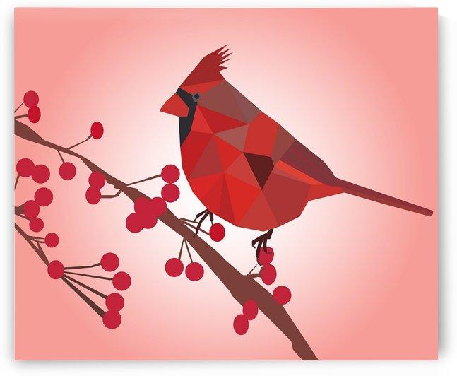 Northern Cardinal Bird LOW POLY ART  by rizu_designs