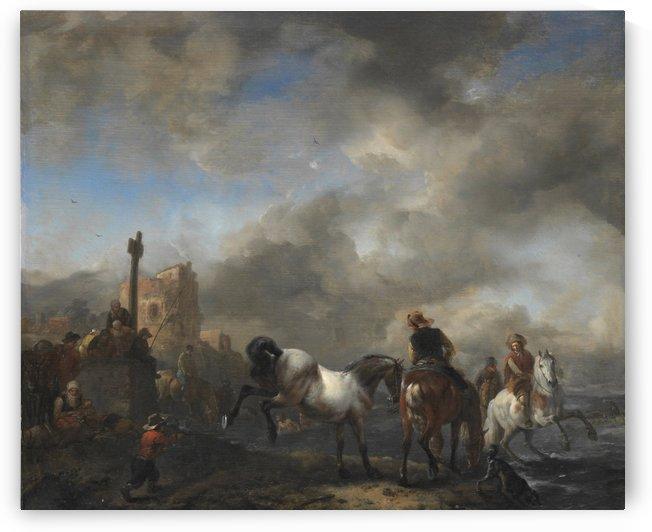 Paardenwed bij een grenspaal by Philips Wouwermans