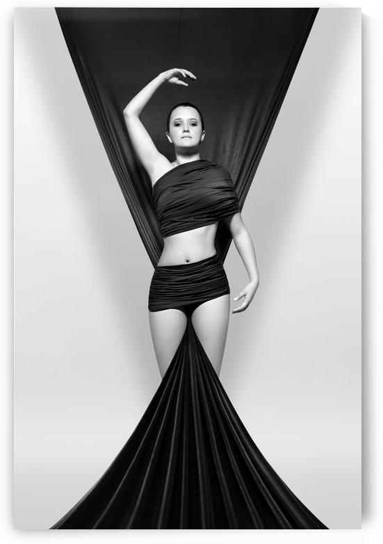 Woman draped in black cloth by Johan Swanepoel