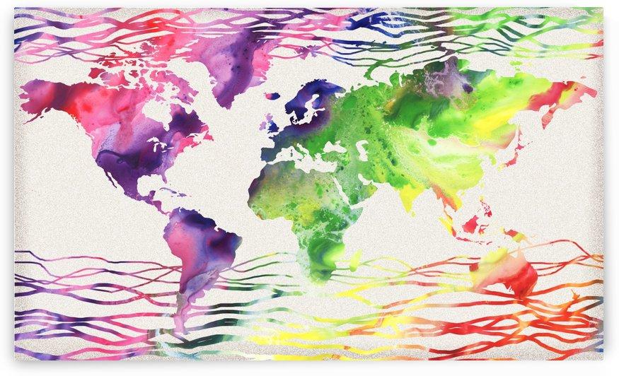 Colorful Wave Of Watercolour World Map by Irina Sztukowski