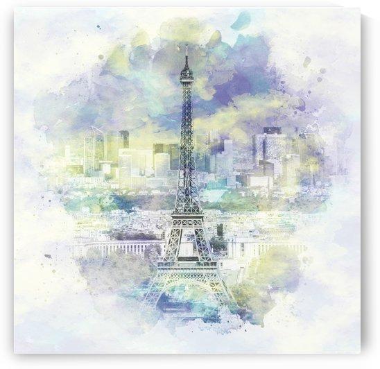 Paris Skyline   watercolor by Melanie Viola