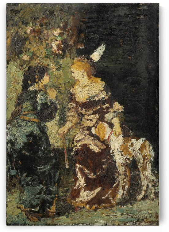 Two Women with a Dog by Adolphe Monticelli