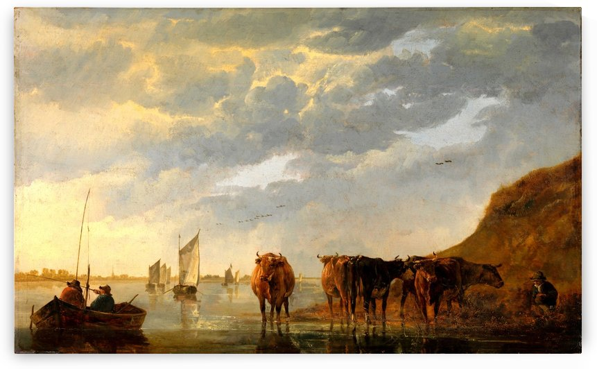 A Herdsman with Five Cows by a River by Aelbert Cuyp
