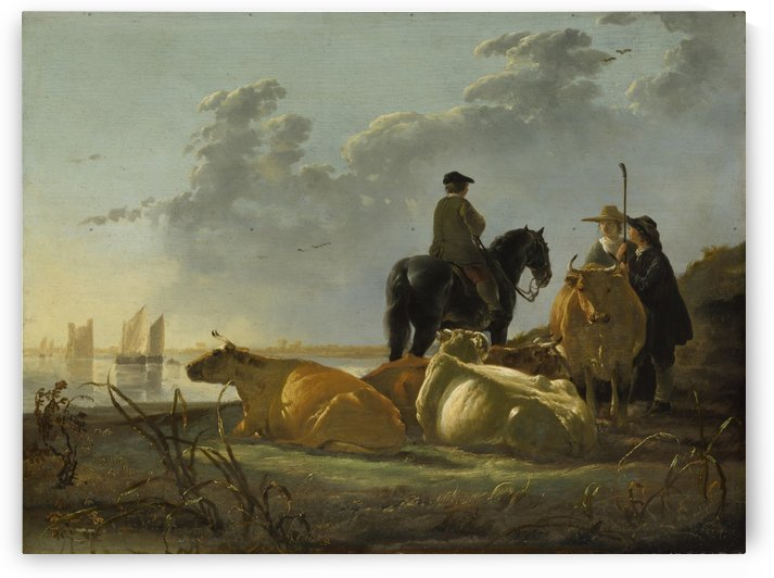 Peasants and Cattle by the River Merwede by Aelbert Cuyp