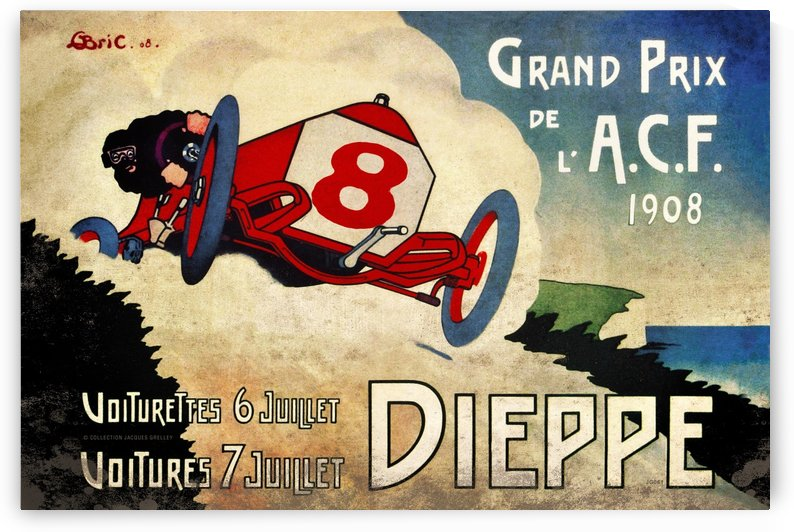Dieppe French Grand Prix de L'ACF 1908 by RacingCarsPosters