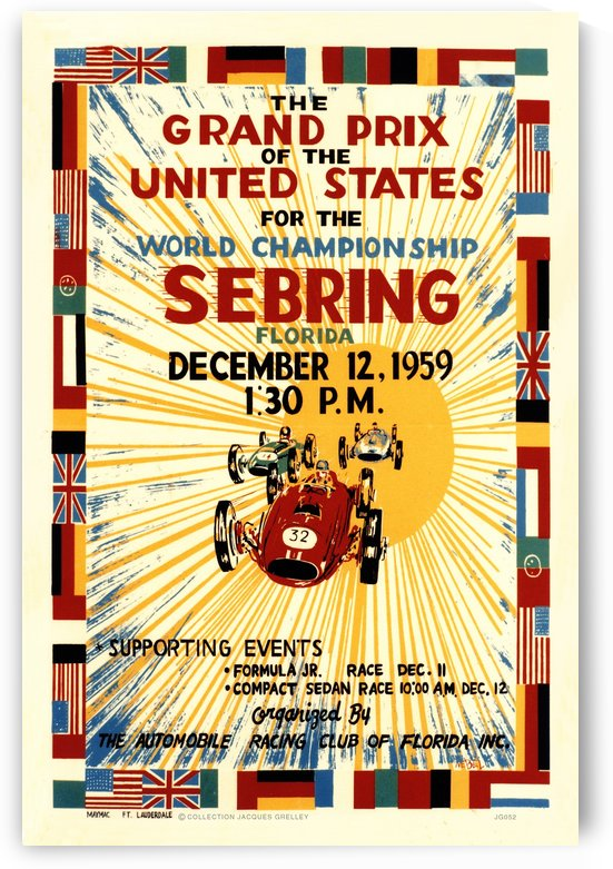 Sebring Us Grand Prix World Championship 1959 by RacingCarsPosters