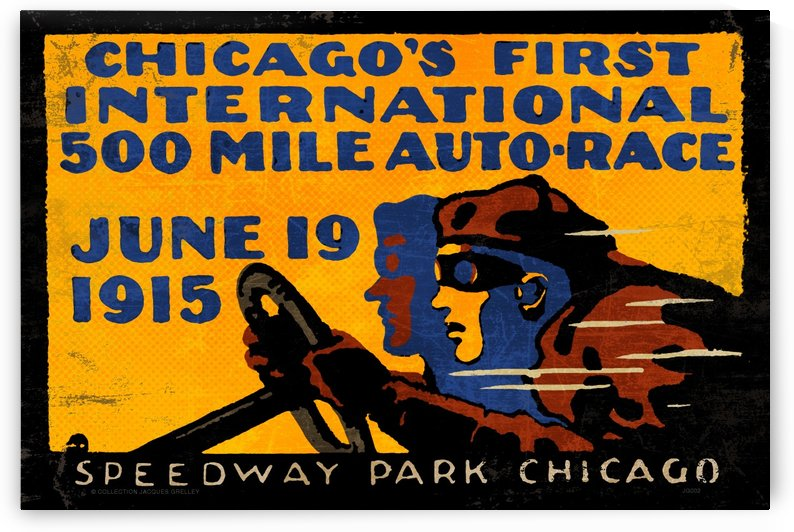 Chicago First International 500 Mile Auto Race 1915 by RacingCarsPosters