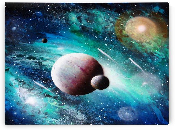 Blue maroon galaxy by Alisa Amor