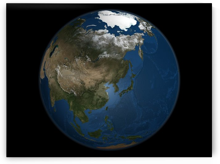 A global view over Asia with Arctic sea ice. by StocktrekImages